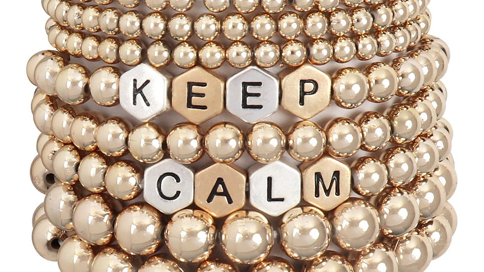 """Keep Calm"" Beads Stackable  Bracelet"