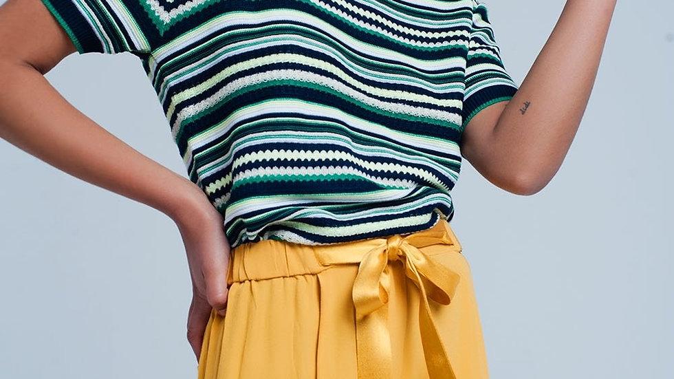 Green Multi Pattern Short Sleeve Sweater