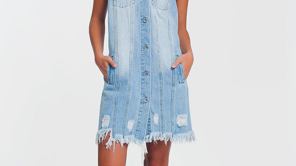 Sleeveless Denim Dress in Light Denim