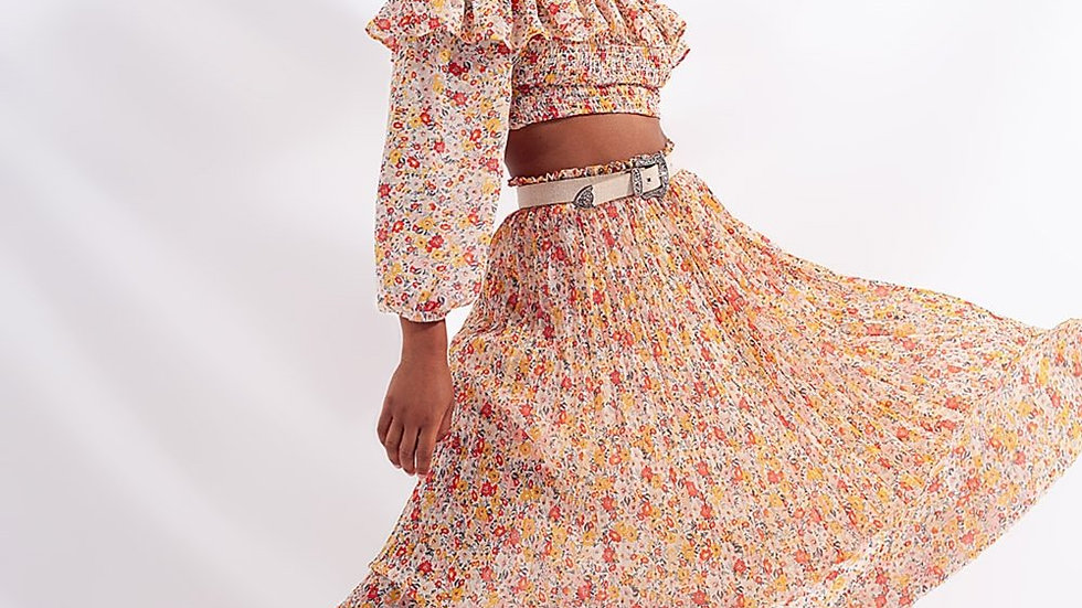 Pleated Long Skirt with Coral Colour Flower Print