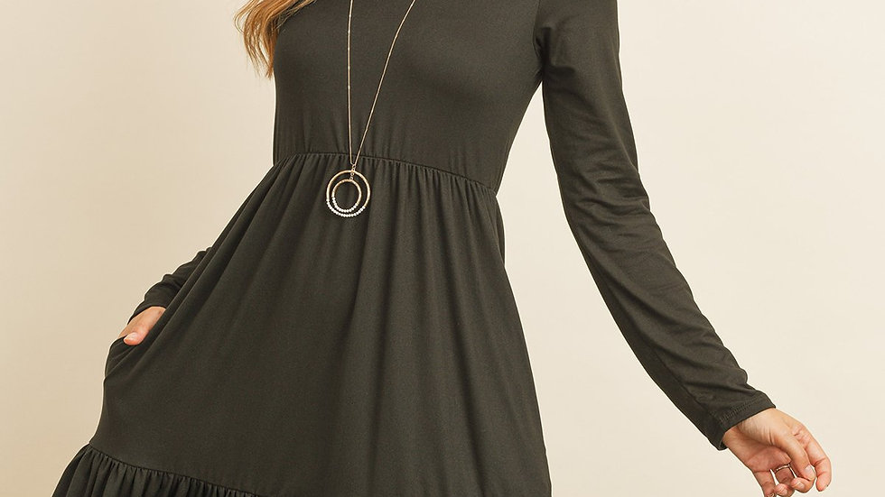 Solid Long Sleeve Double Layered Ruffle Dress
