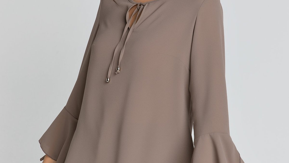 Iron Brown Flounce Sleeve Top