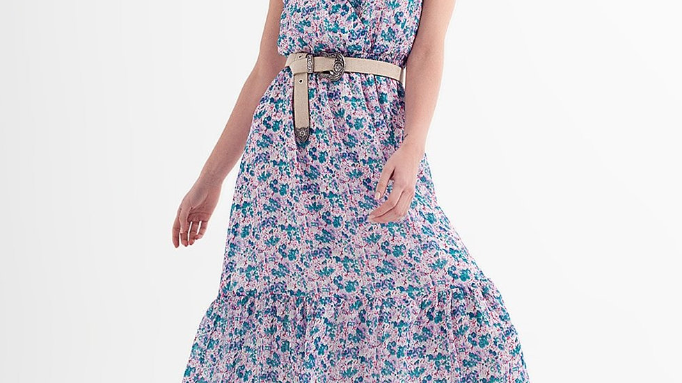 Floral Sleeveless Maxi Dress in Green
