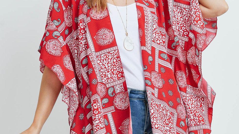 Red Mandala Paisley Ruffle Kimono