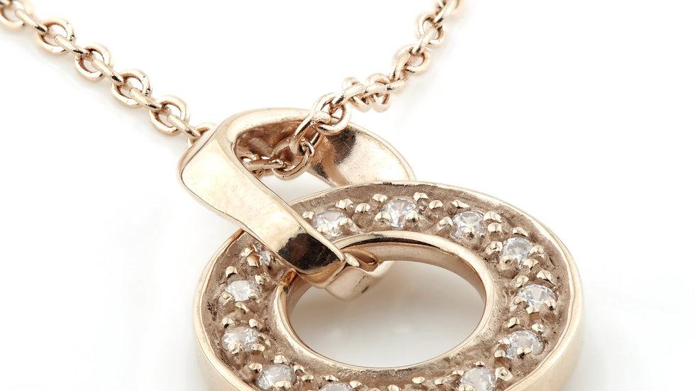 Rose Gold Long CZ Halo Pendant Necklace