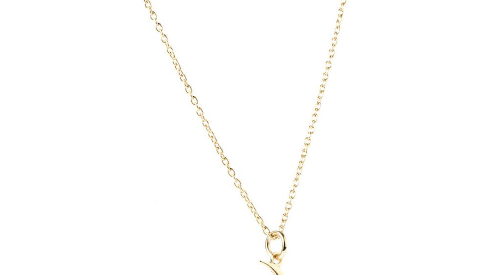 Gold Moon & Star Pendant Necklace