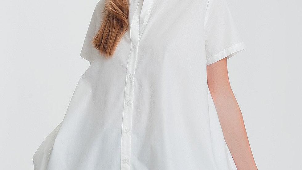 Short Sleeves Oversized Poplin Shirt