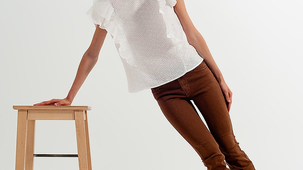 Blouse with Frill Ruffle Sleeves