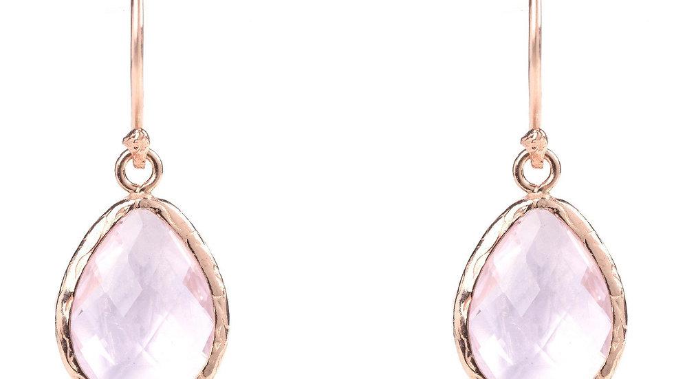 Petite Drop Earring Rose Quartz Hydro Rosegold