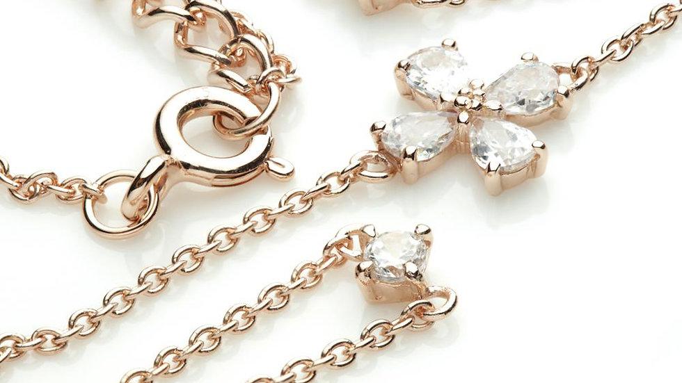 Rose Gold Crystal Flowers & Gems Choker Necklace