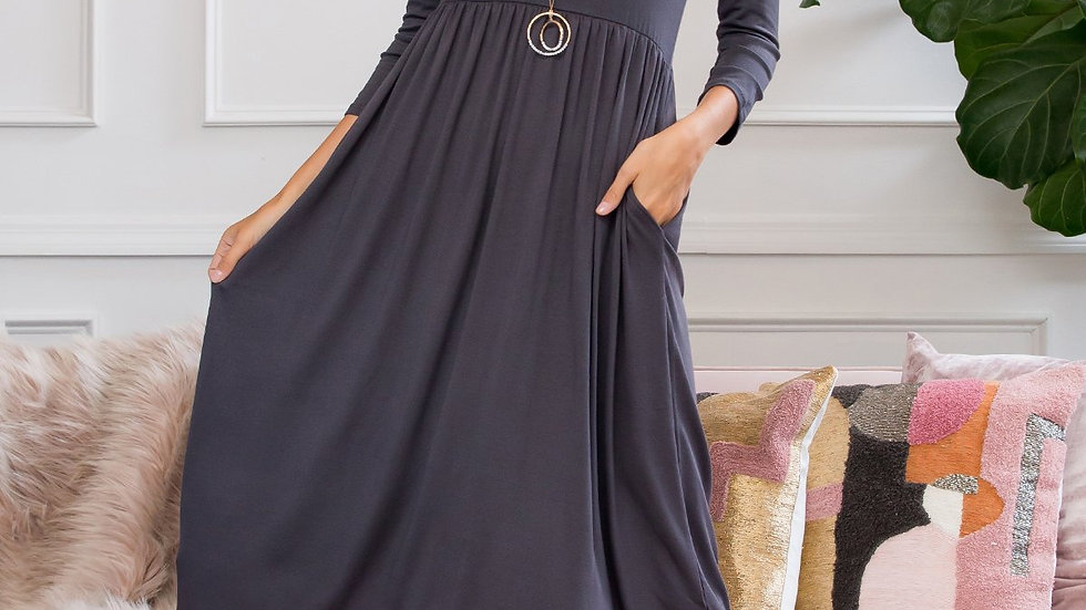 Viscose 3/4 Sleeve Round Neck Waist Shirring Dress