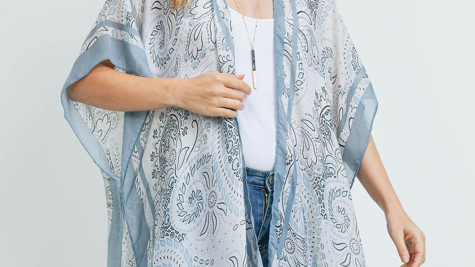 Sage Bohemian Print Kimono