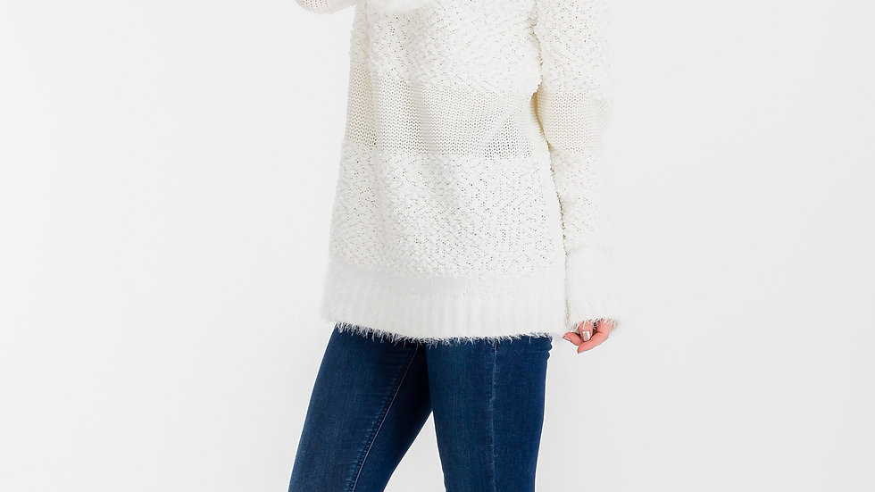 Women's Mohair Cowlneck Sweater Offwhite