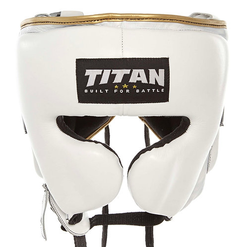 Shot Stopper Headgear - Polar White w/ gold trim