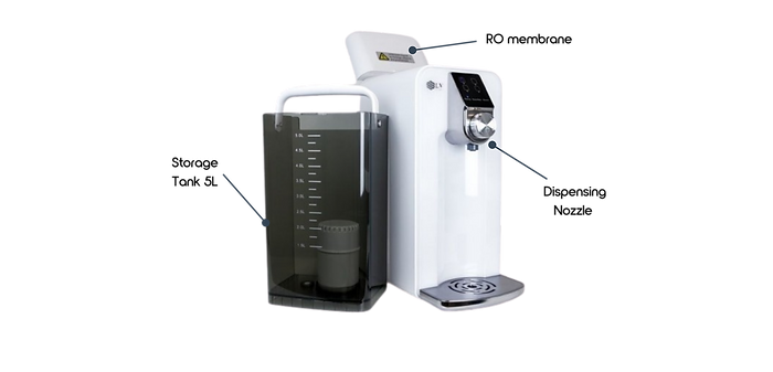 Countertop Reverse Osmosis systems - Osmio Zero with compartiments Storage tank 5L dispensing Nozzle RO membrane