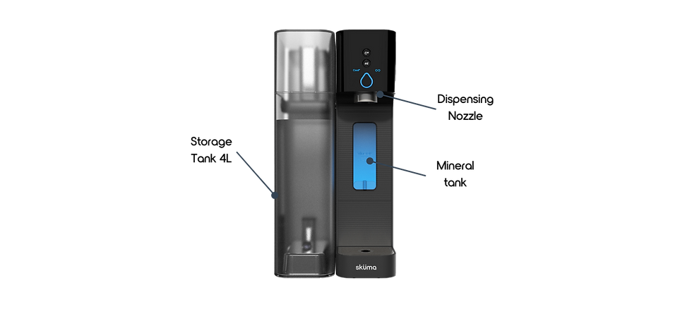 Countertop reverse osmosis mineralisation device - same mineral composition as Evian - all components of the device