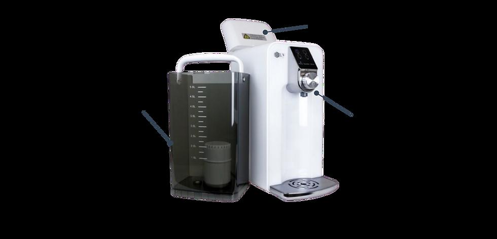 Countertop Reverse Osmosis systems - Osmio Zero with compartiments Storage tank 5L dispensing Nozzle RO membrane
