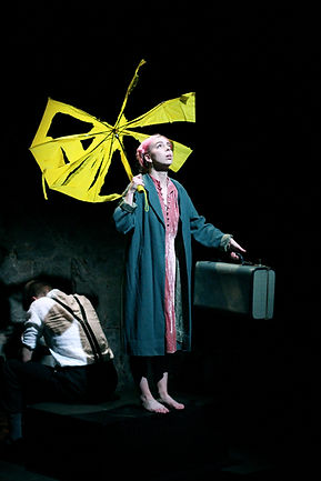 Emma Skalicky in Sarah Ruhl's Eurydice with umbrella