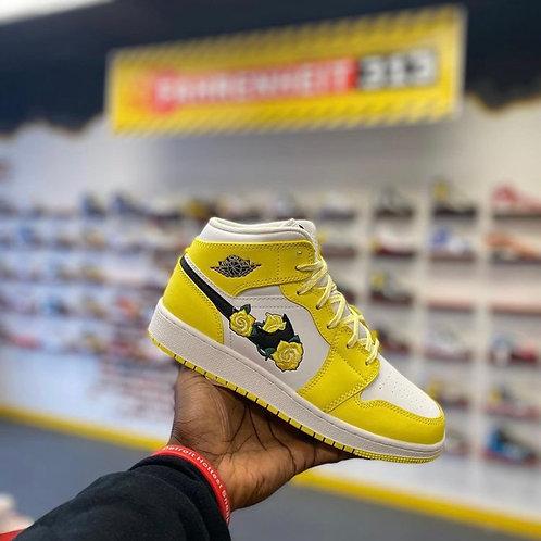 "Air Jordan 1 Mid - ""Dynamic Yellow Floral"" (Sz 5)"