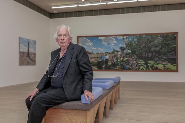 'The Estuary' John Wonnacott. Portrait of John during his solo exhibition at Focal Point Gallery