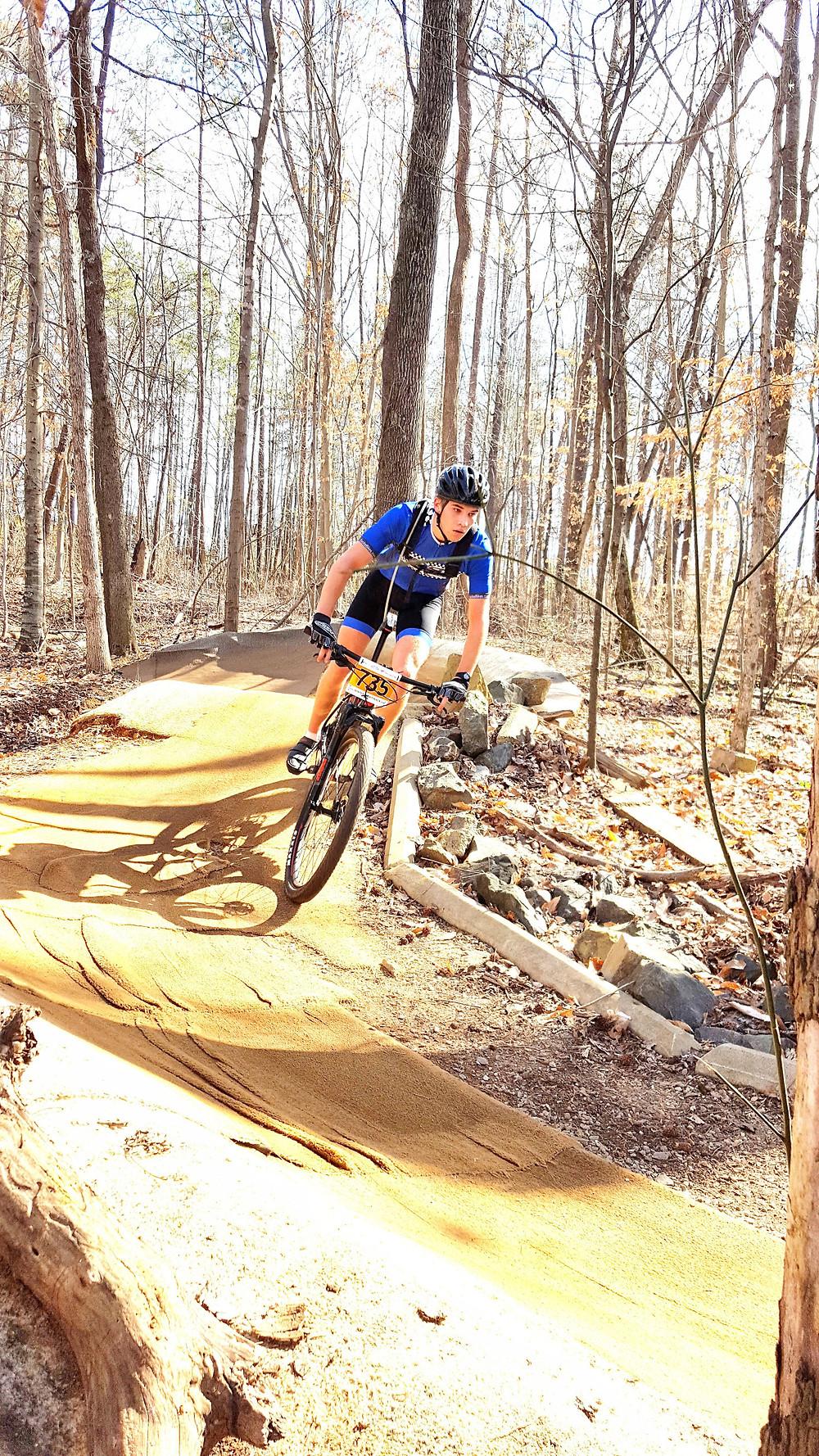 person riding mountain bike