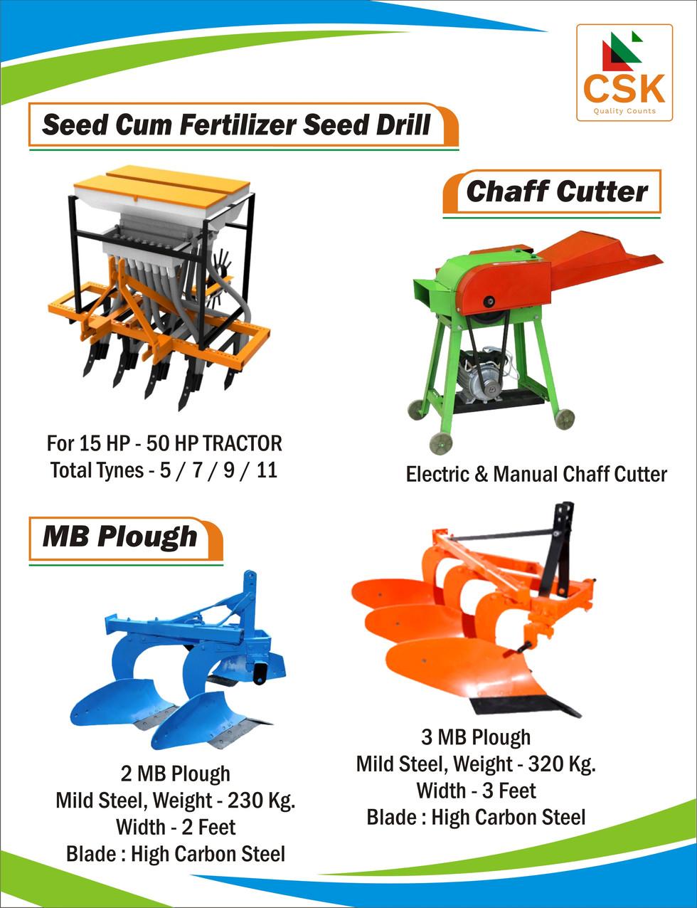 Seed Cum Fertilizer Seed Drill- MB Plough, Chaff Cutter