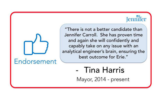 Endorsement from outgoing popular Mayor Tina Harris