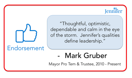 Endorsement from Mayor Pro Tem/Trustee Mark Gruber
