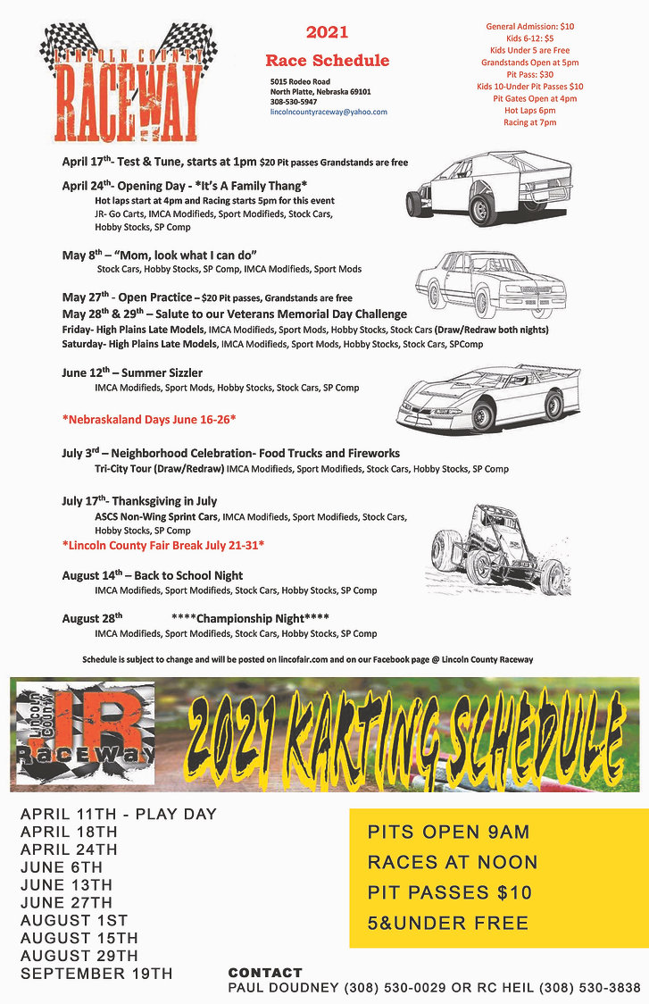 lincoln county raceway, 2021 schedule, events, dirt track, racing, car, go kart, jr raceway, schedule, visit north platte, lincoln county fairgrounds, north platte, nebraska, ne