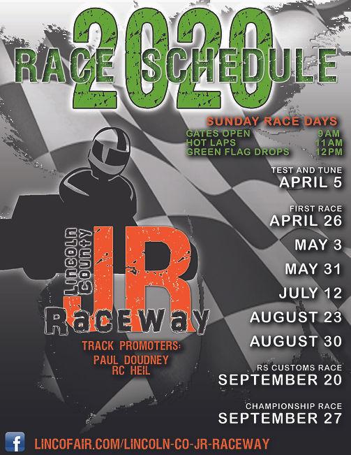 lincoln county jr raceway schedule 2020 fairgrounds ag society go kart tack kids