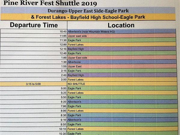 Durango-Forest Lakes Shuttle Schedule PR