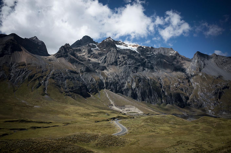 Highway 3N splits the Cordillera Blanca and Cordillera Huayhuash mountain ranges in central Peru.
