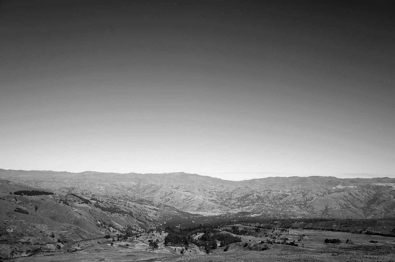 Huaraz as seen from the Cordillera Blanca, with the arid Cordillera Negra range in the background.