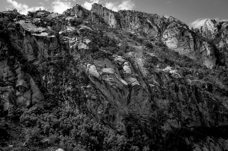 Granite walls of a steep ravine on the path to Lake Churup.