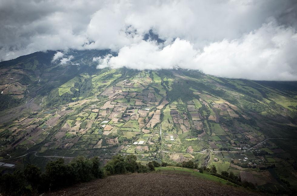 Patchwork terraced fields on steep mountains slopes are a common sight across Ecuador's central Andean landscape.