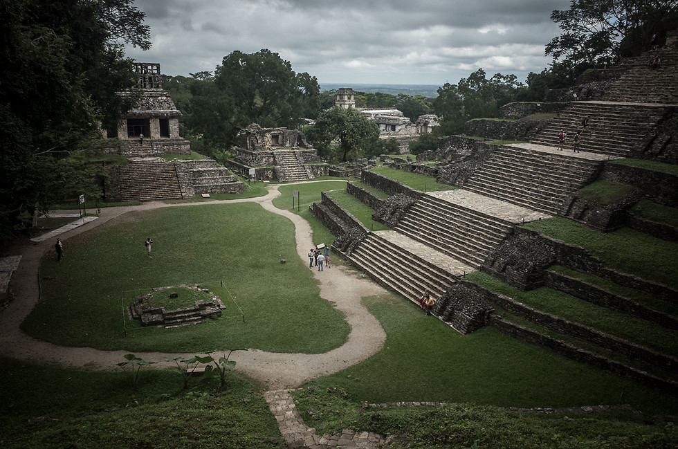 Visitors explore the Mayan ruins at Palenque in the state of Chiapas.