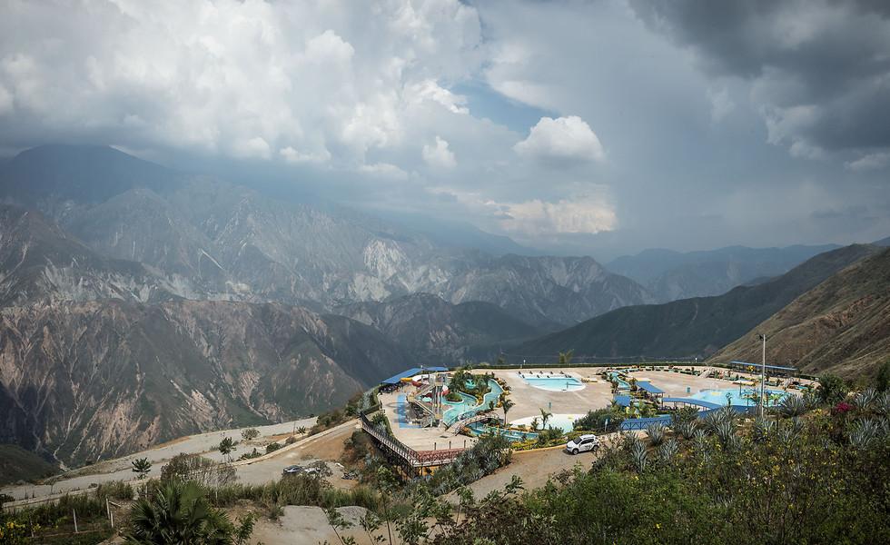 A waterpark overlooks the massive Chicamocha Canyon near Bucaramonga, Colombia.