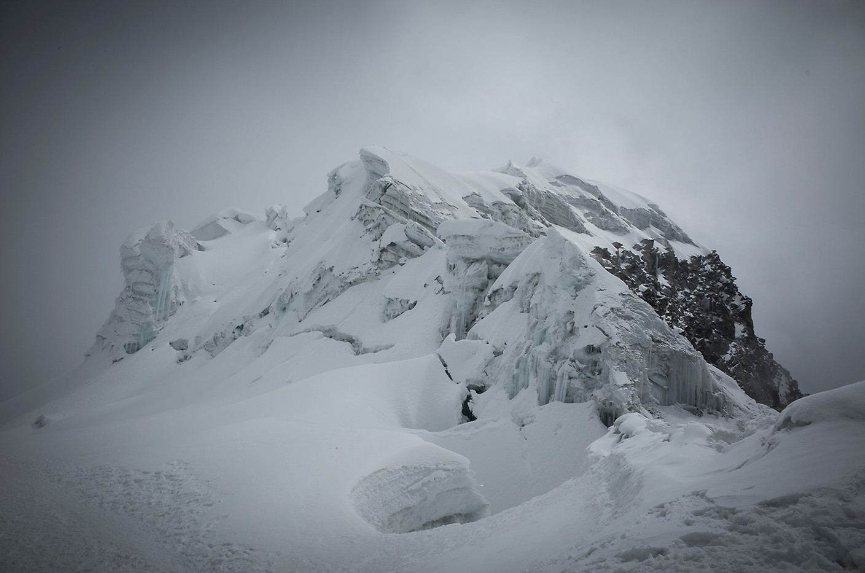 Ghoulish formations compose the north peak of Vallunaraju.