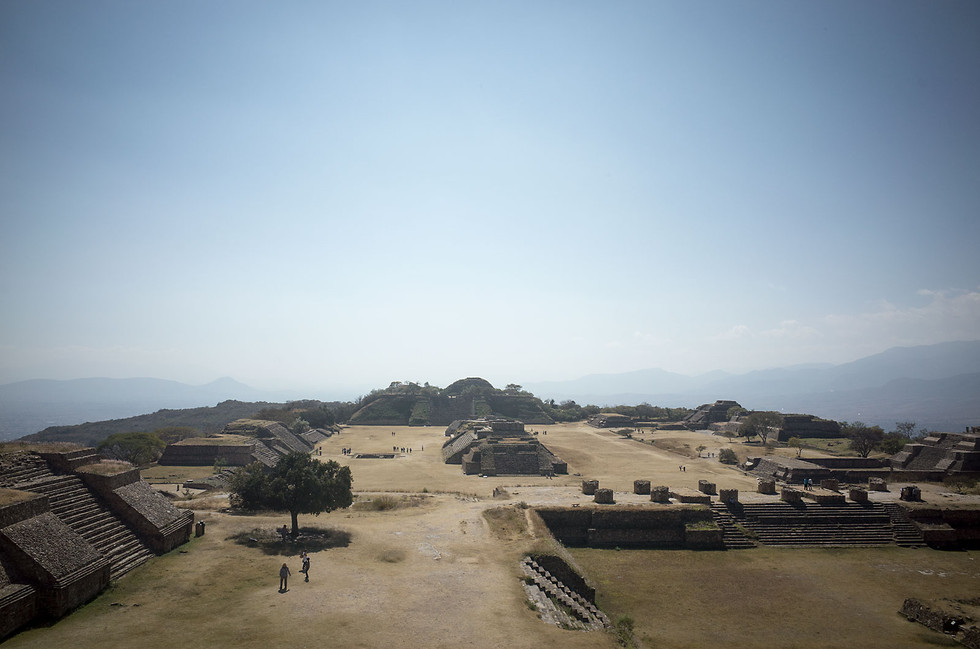 An ancient city of Zapotec people, Monte Albán sits on an artificial plateau overlooking Oaxaca city and the surrounding valley.