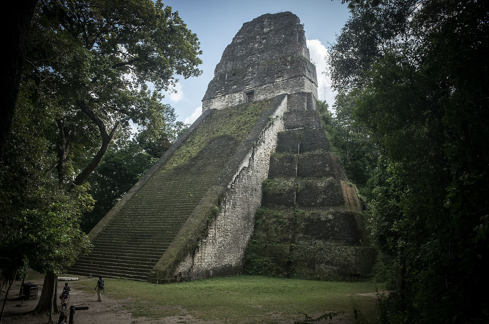 Thousands of structures buried in the Guatemalan jungle make up the Mayan ruins at Tikal. Temple V is one of the more impressive ones to have been excavated. The majority of the structures, however, remain completely covered by earth and forest.