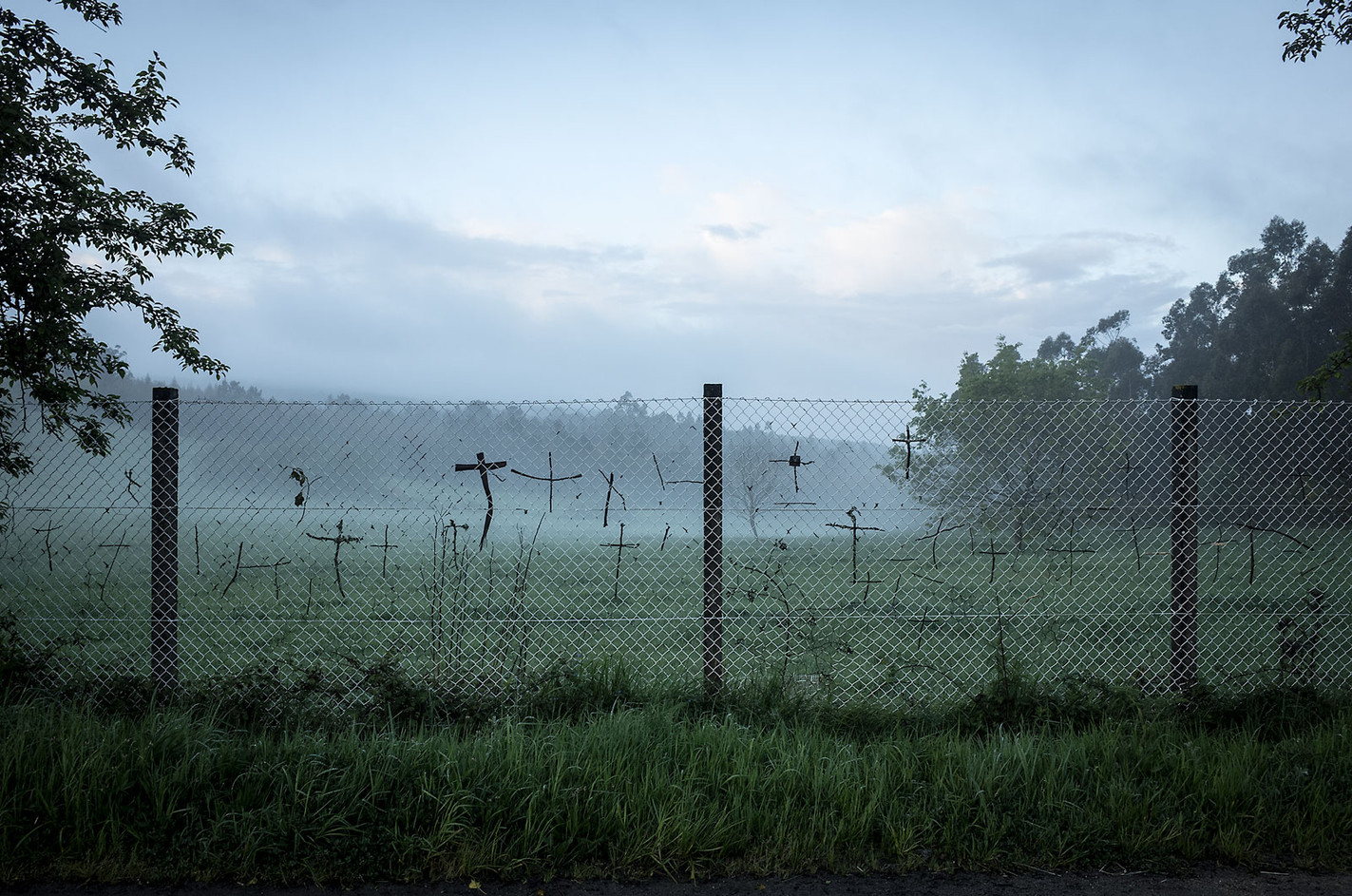 Fences along the Camino often display crosses made of sticks placed there by passing pilgrims.
