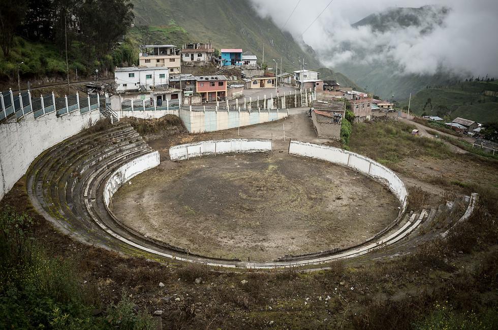 An abandoned bull ring in Alausí, Ecuador.