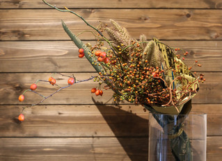 秋の実りと鳥さんブーケ
