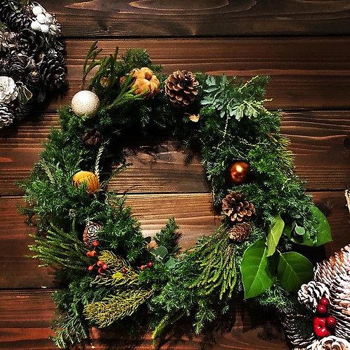 本店開催:クリスマスリースワークショップ 11月29日(日)15:00-17:00 (使用リースlarge 直径:約30㎝)