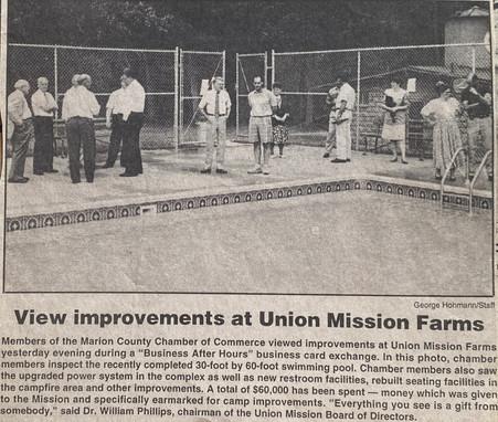 Mission Farm, Camp Ara, Swimming pool completion