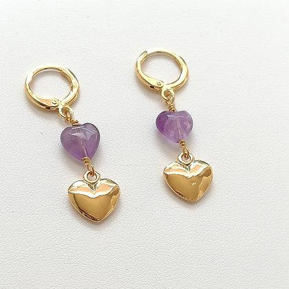 Aretes doble corazón de Amatista