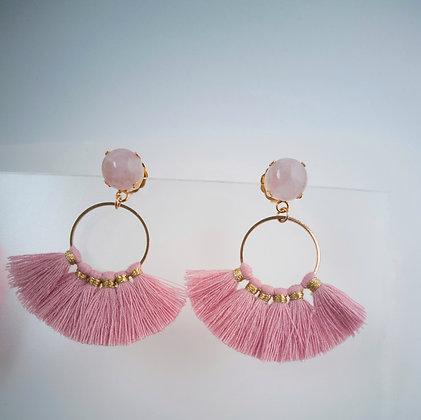 Aretes cuarzo rosa con borla rosa