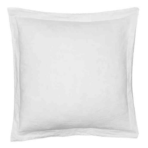 Washed Linen Euro Sham w/ Flange - White