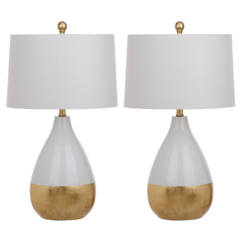 Gold and White Gourd Table Lamps