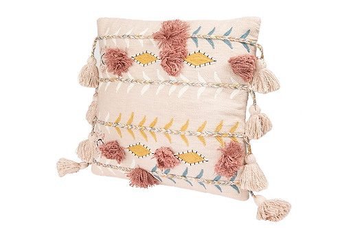 """Square Embroidered 20"""" Pillow w/ Tassels - Light Pink"""